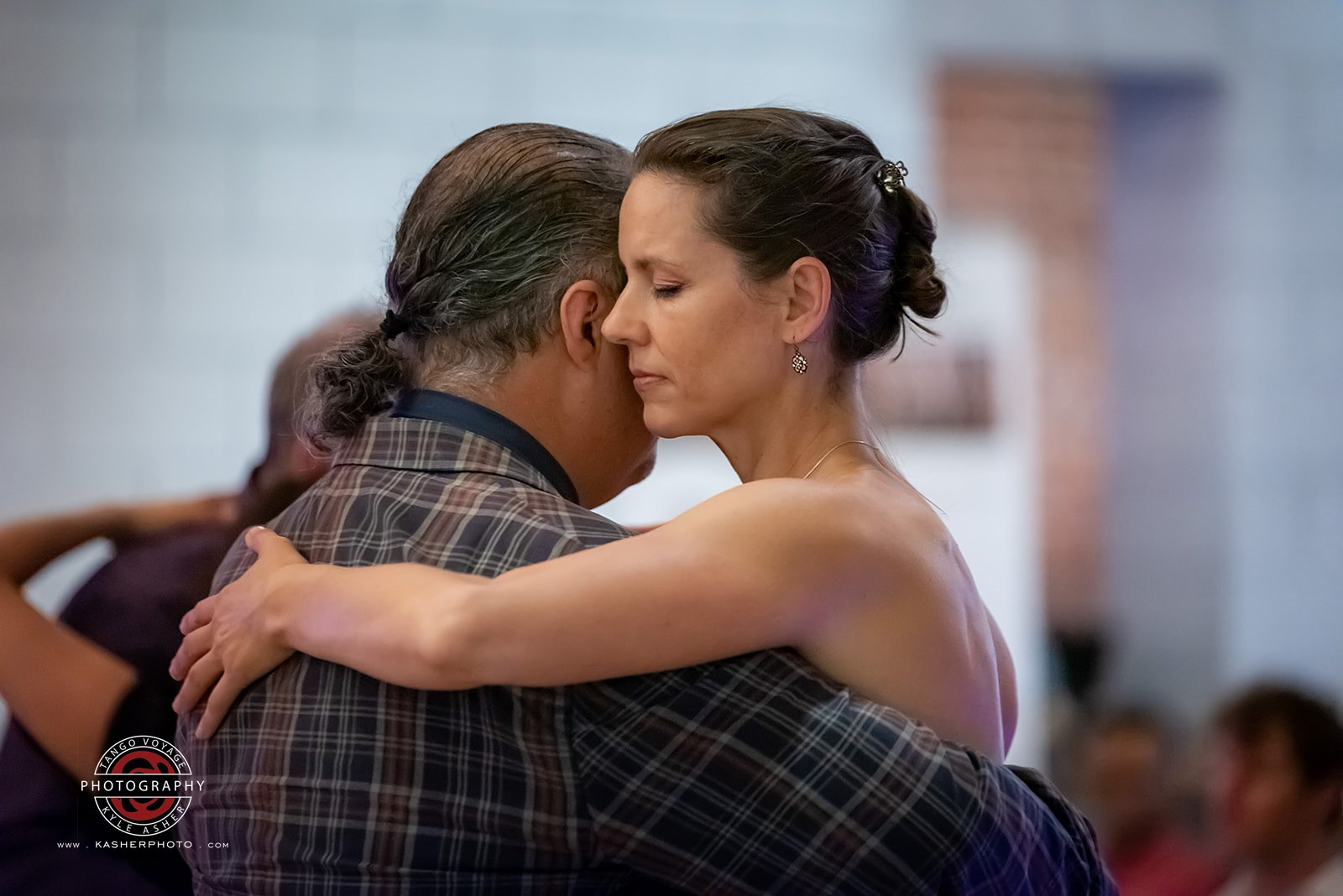 Emily Web Dancing at San Diego Tango Festival - Side Embrace Shot