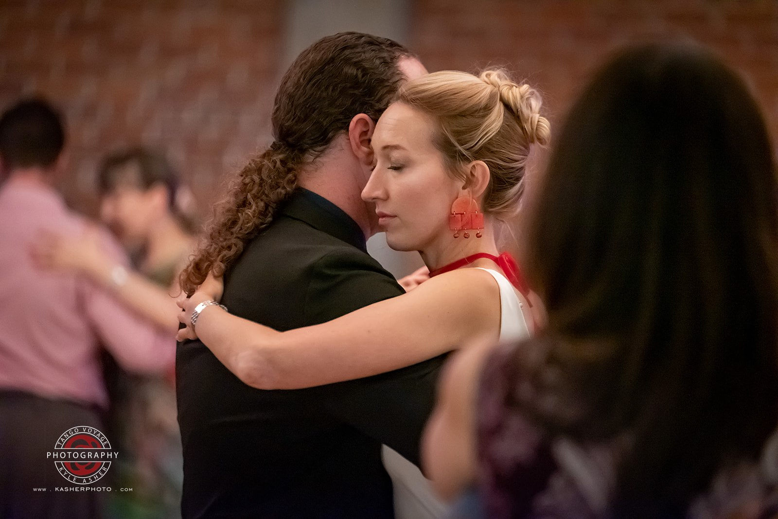 Couple dancing in a Tango Embrace at the San Diego Tango Marathon